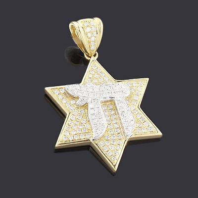 14K Diamond Chai Star of David Pendant 0.75ct