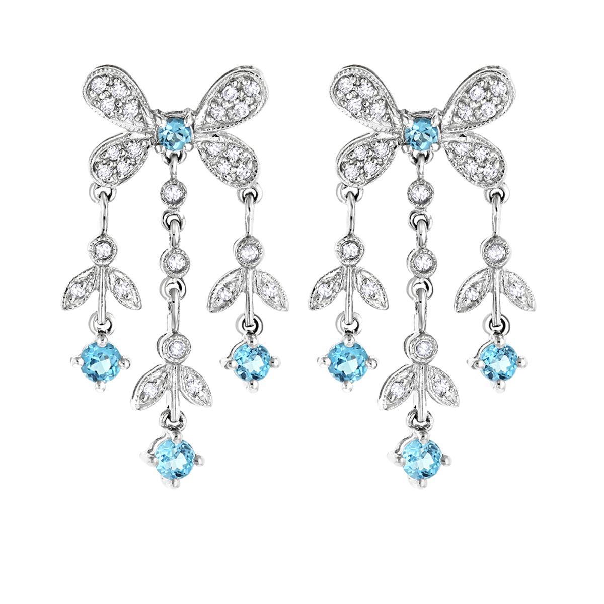 14K Diamond Chandelier Earrings Blue Topaz 0.37ct
