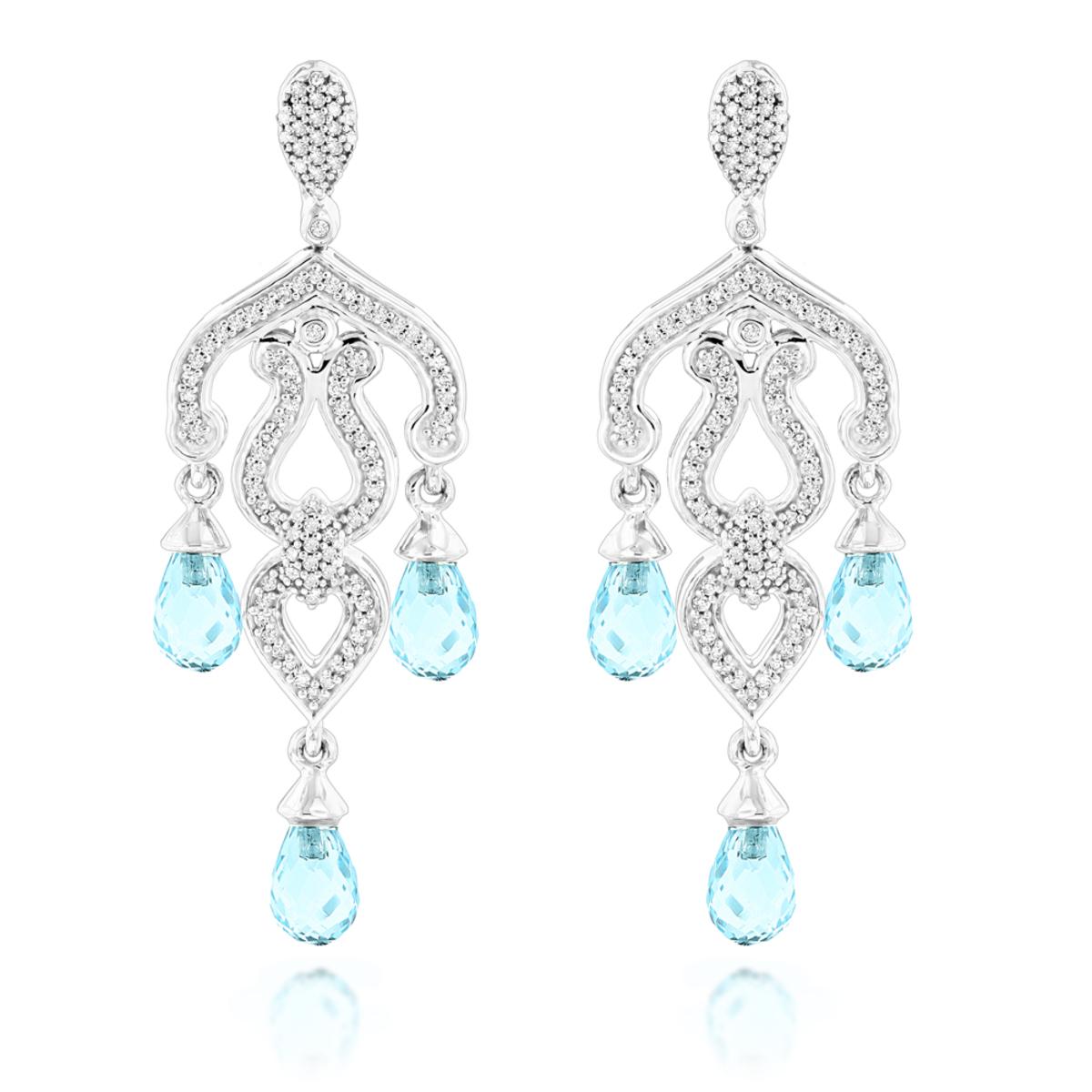 14k gold diamond chandelier earrings blue topaz 037ct arubaitofo Choice Image
