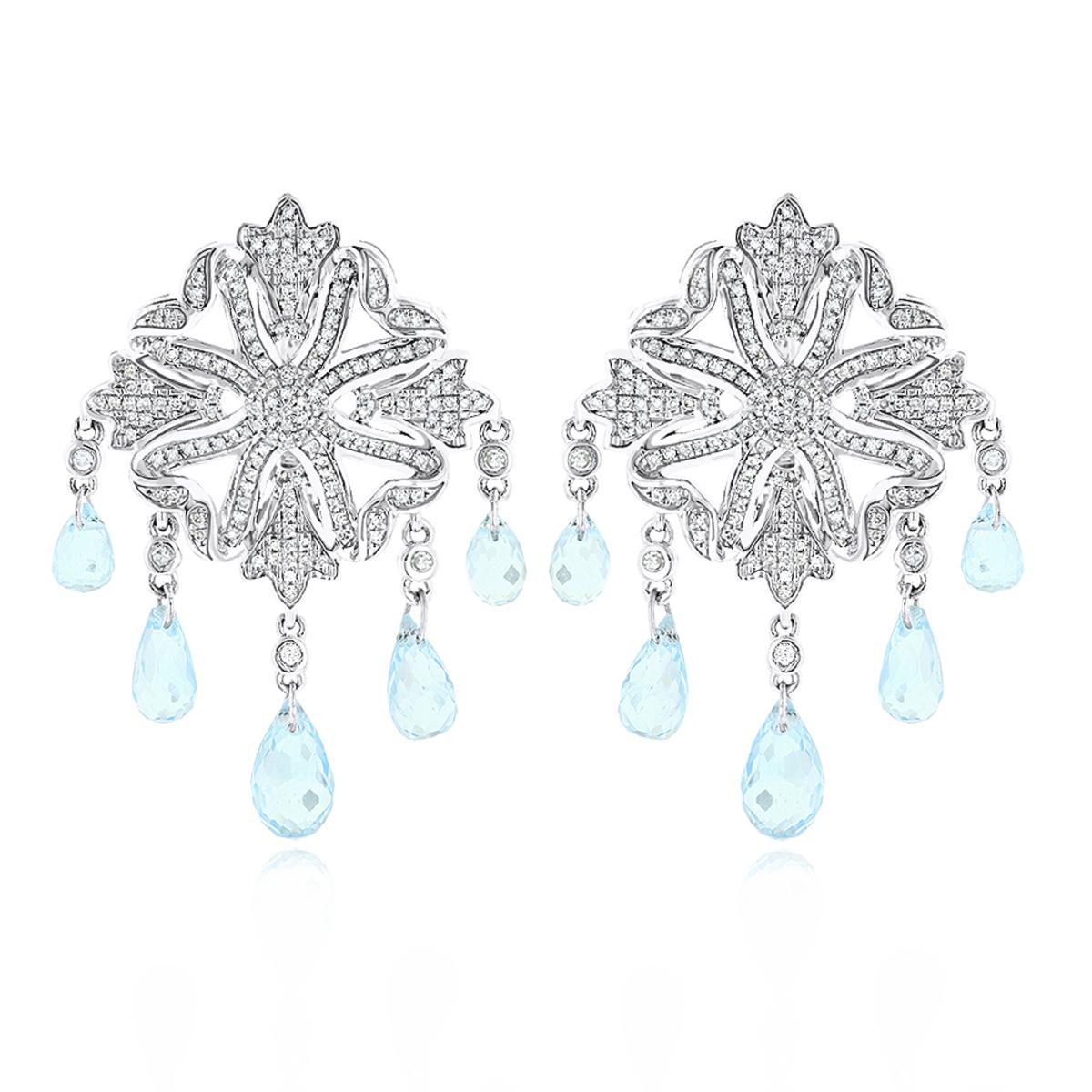 14K Diamond Chandelier Earrings Blue Topaz 0.64ct