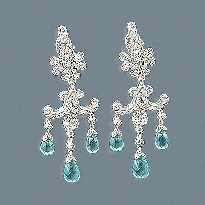 14K Diamond Chandelier Earrings Blue Topaz 1.24ct