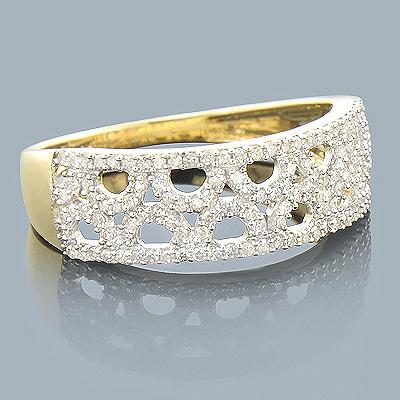 14K Gold Ladies Diamond Circle Ring 0.33ct