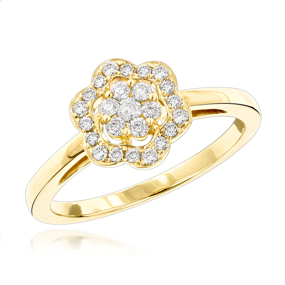 Flower Diamond Rings: 14K Gold Ladies Diamond Cluster Ring 0.4 ct