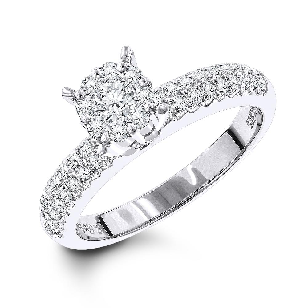 14K Gold Ladies Diamond Cluster Ring 0.72ct