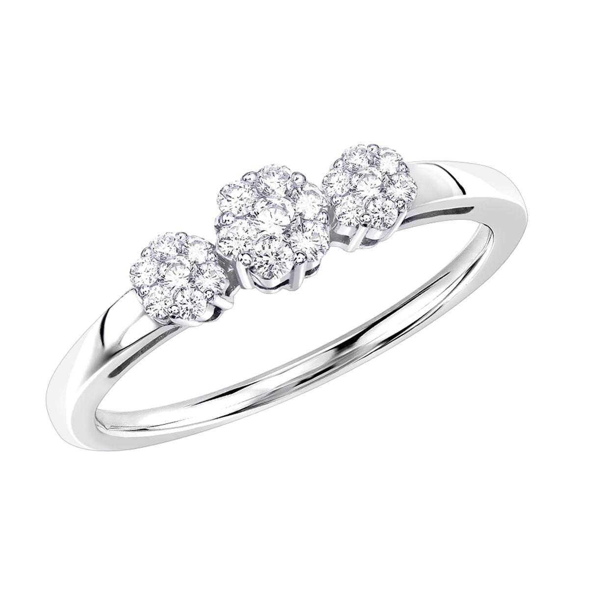 Thin 14K Gold Diamond Cluster Ring Past Present Future 0.25ct
