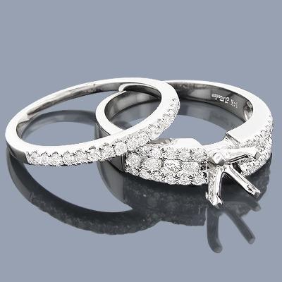 14K Diamond Engagement Ring Mounting Set 0.73ct