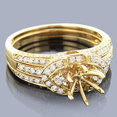14K Diamond Engagement Ring Mounting Set 0.81ct