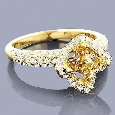 14K Diamond Flower Engagement Ring Setting 1.40ct