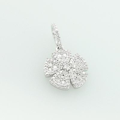 14K Gold Ladies Diamond Flower Pendant 0.43ct