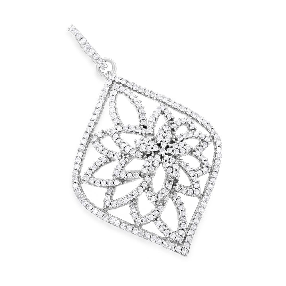 14K Diamond Flower Pendant 0.66ct