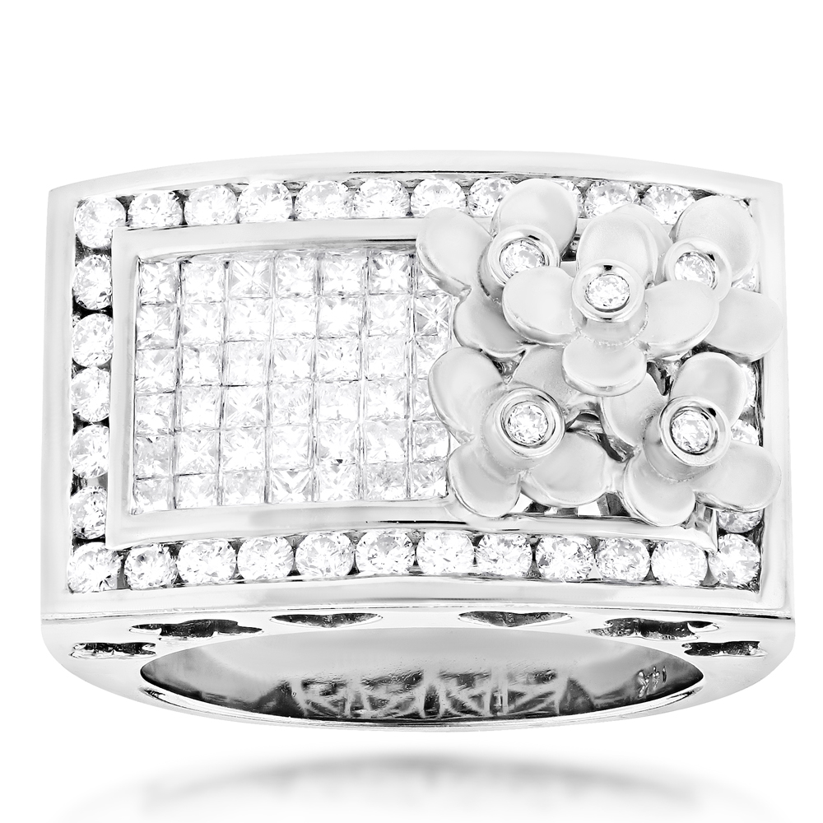 14K Gold Unique Diamond Flower Ring 1.85ct