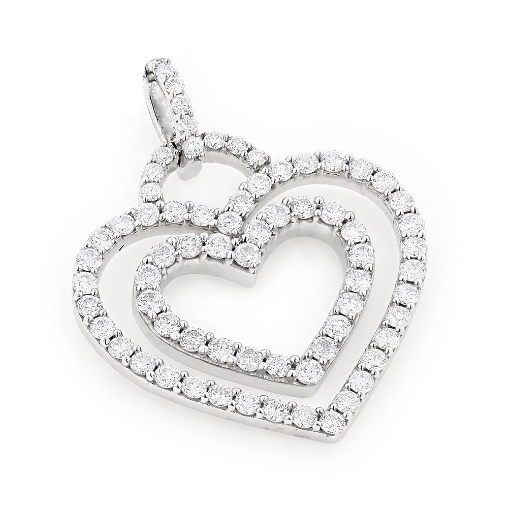 14K Diamond Gold Hearts Diamond Heart Pendant 1.17ct