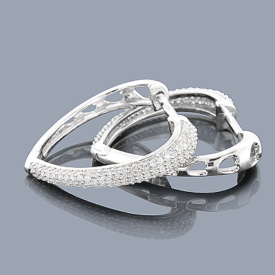 14K Diamond Heart Hoop Earrings 0.58ct