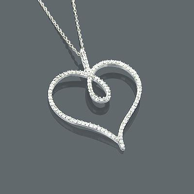 14K Diamond Heart Pendant 0.42ct