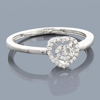 14K Diamond Heart Shaped Ring 0.11ct
