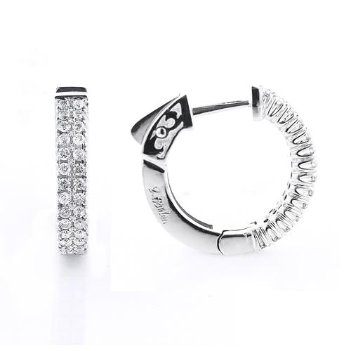 14K Diamond Hoop Earrings 0.70ct