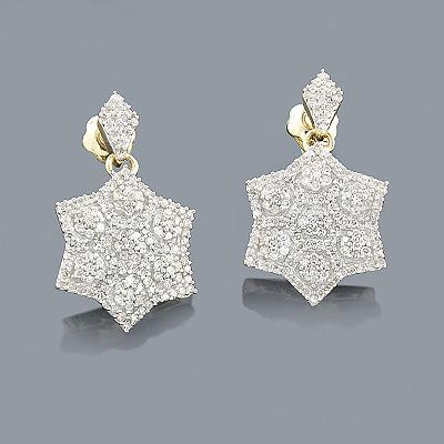 14K Diamond Star Drop Earrings for Women 0.75ct