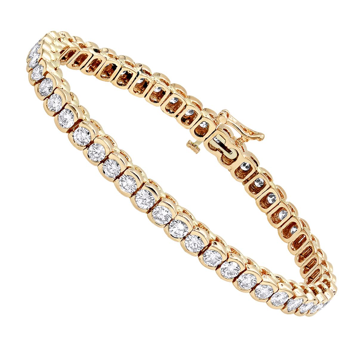 14K Gold Round Diamond Tennis Bracelet Half Bezel Setting 8ct
