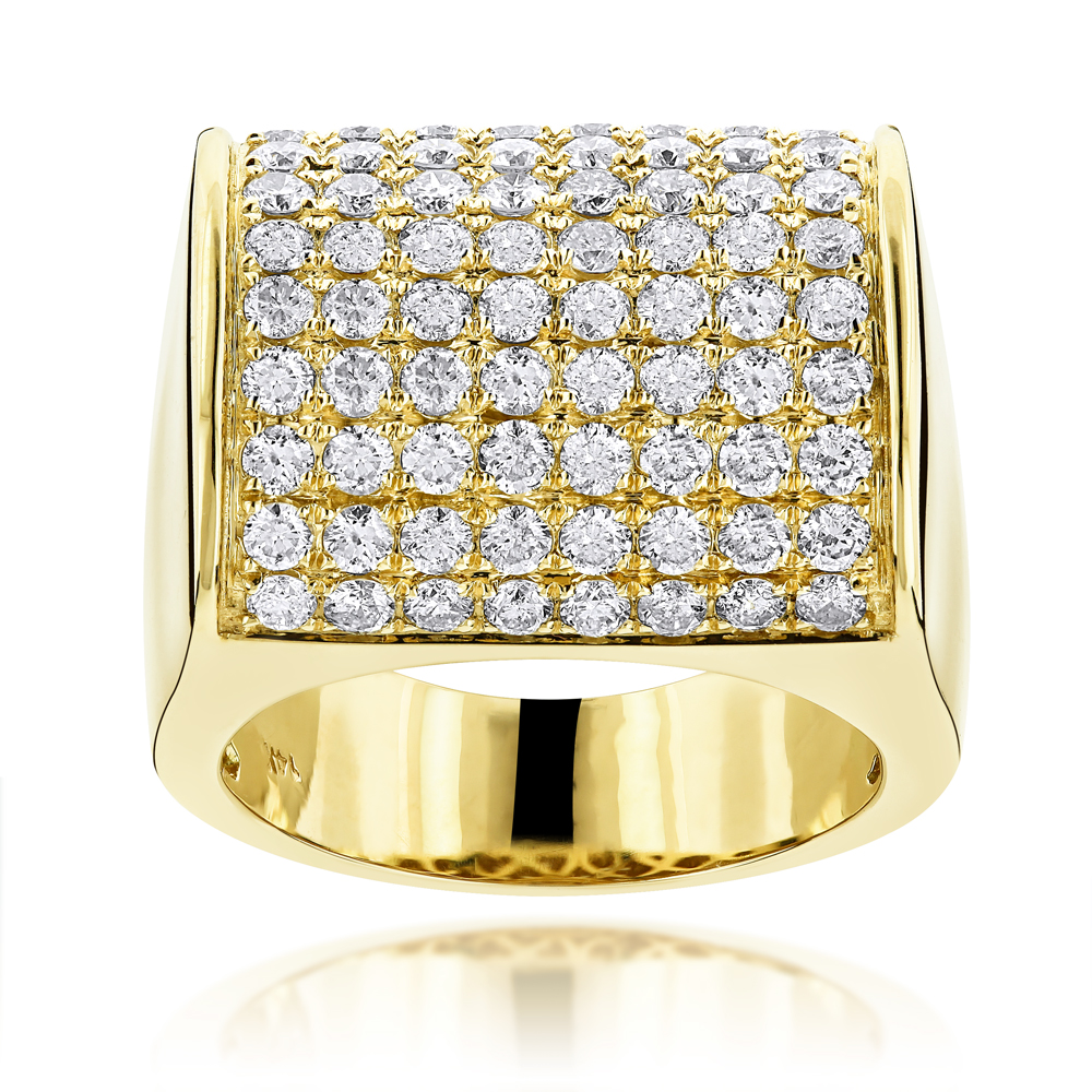 14K Gold Expensive Mens Diamond Ring 4.05ct
