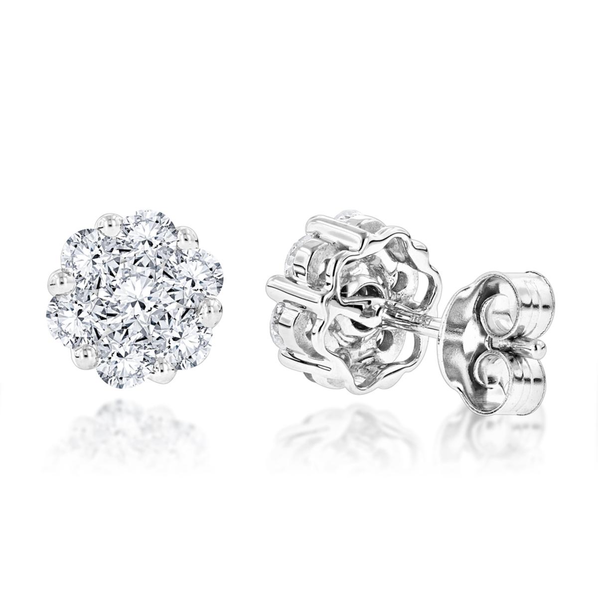 14K Gold 1 Carat Diamond Cluster Stud Earrings by Luxurman 2 Carat Look