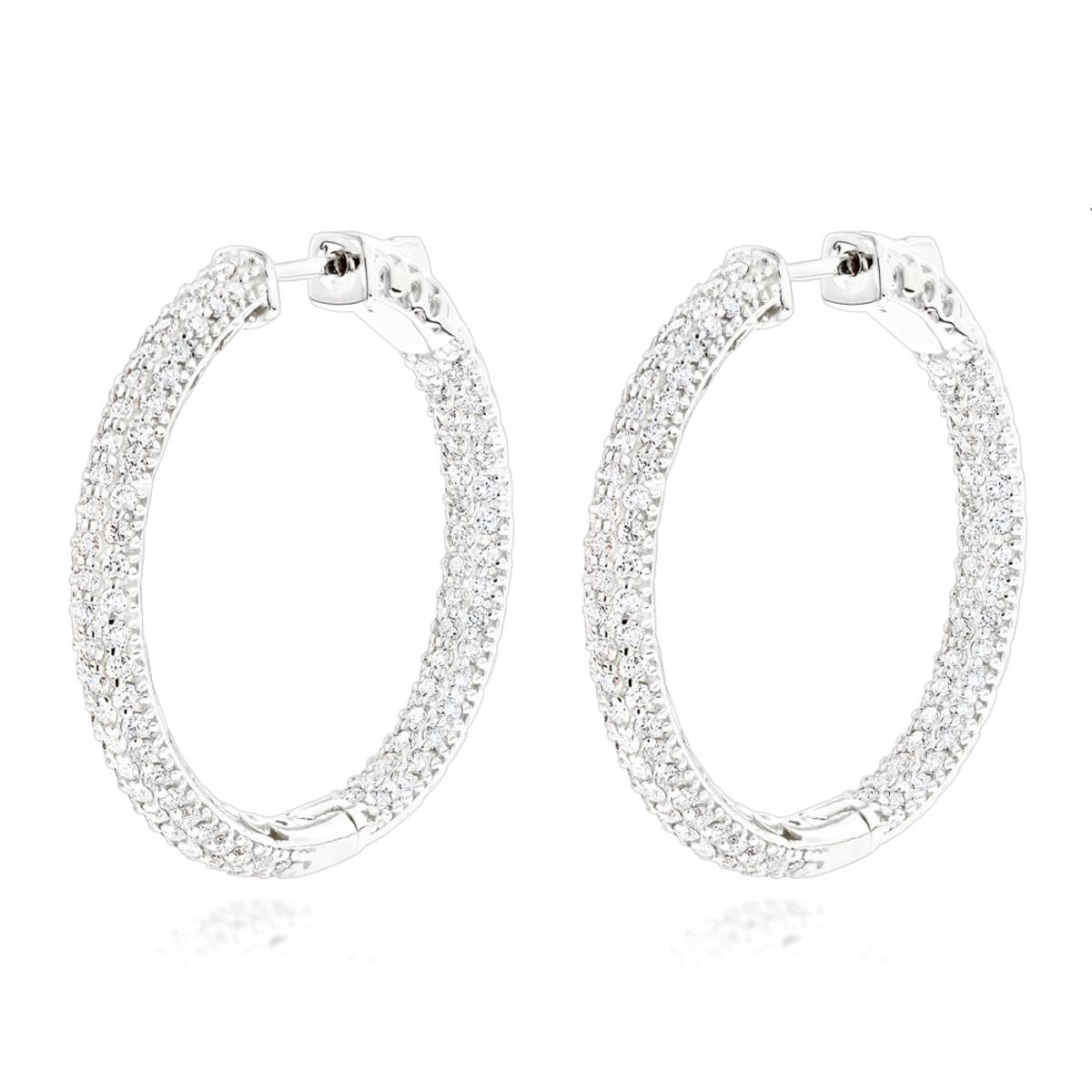 14K Gold 1 3/8 inch Diamond Hoop Earrings Inside Out 4.40ct