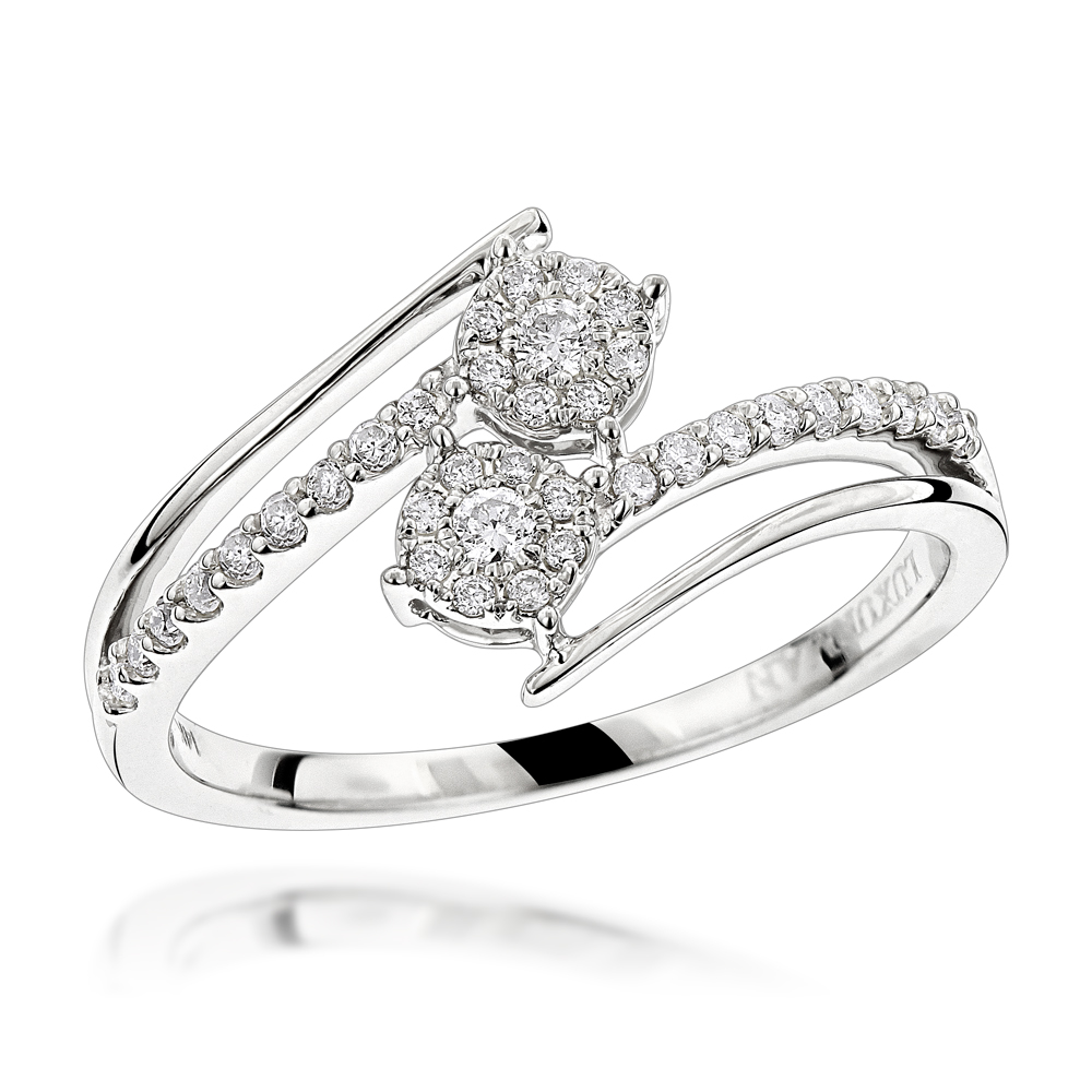 14K Gold 2 Cluster Diamond Ring for Women by Luxurman 0.25ct