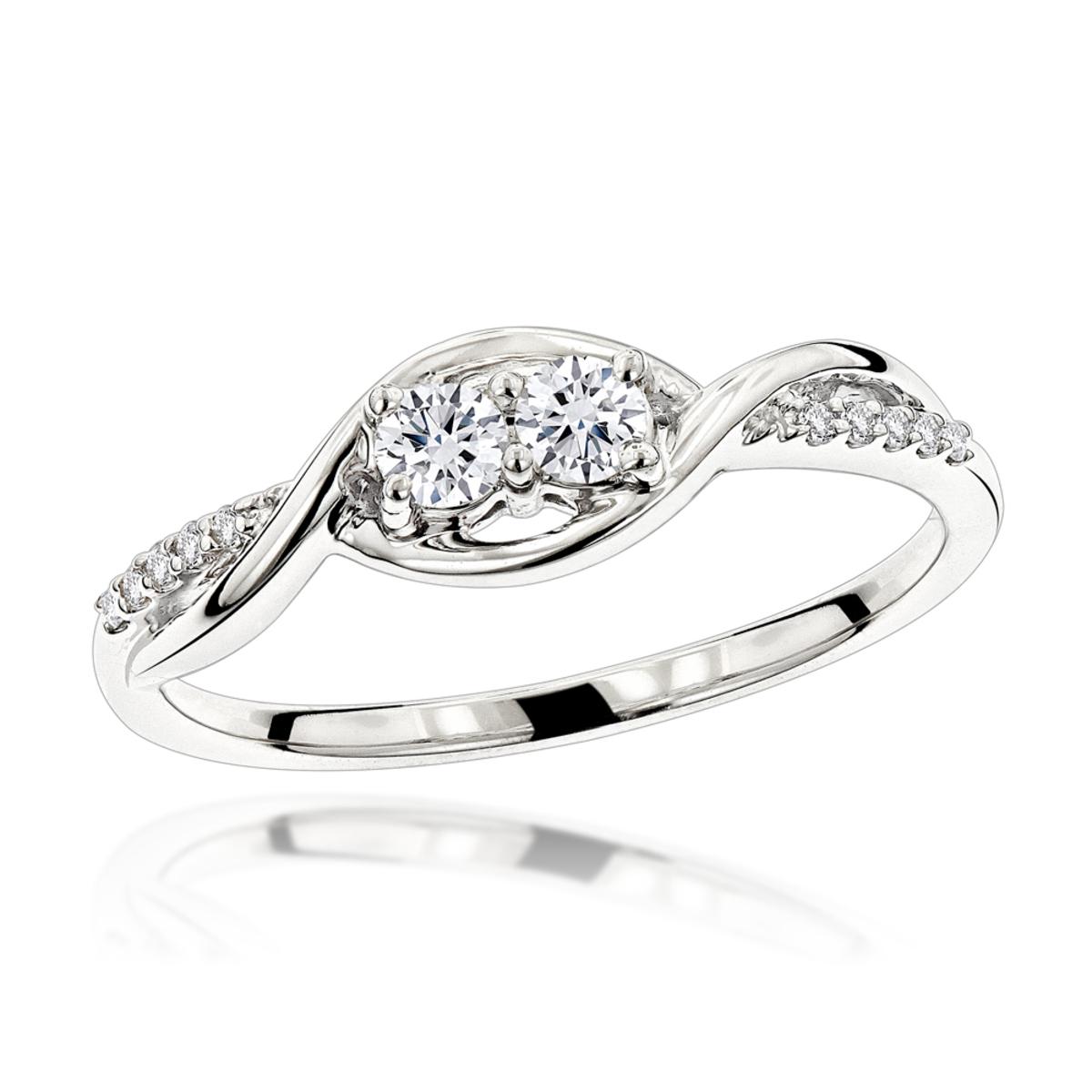 14K Gold 2 Stone Infinite Love and Friendship Diamond Ring for Women 0.25ct