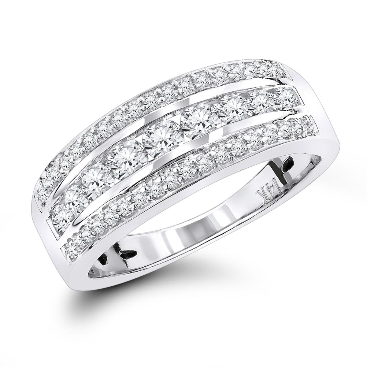 14K Gold 3 Row Ladies Diamond Wedding Band 0.55ct
