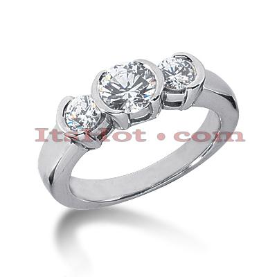 Thin 14K Gold 3 Stone Diamond Engagement Ring 0.39ct