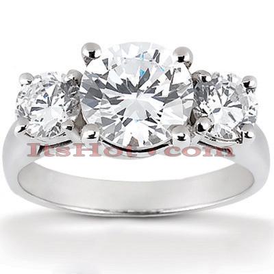 Thin 14K Gold 3 Stone Diamond Engagement Ring 0.45ct