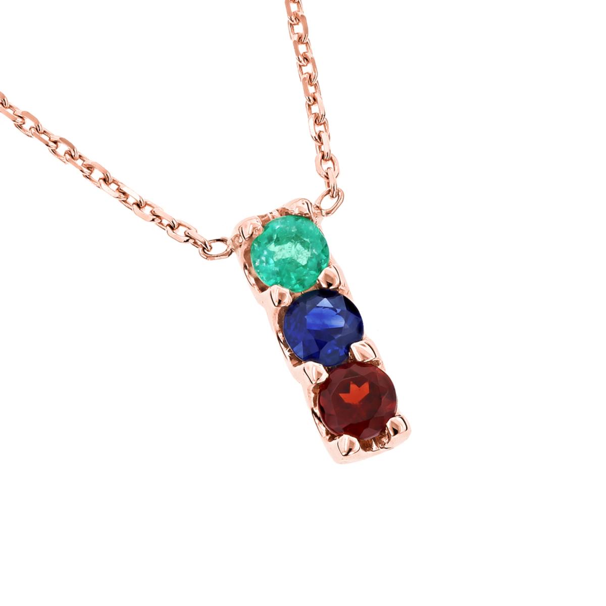 14K Gold 3 Stone Gemstone Necklace: Emerald Sapphire Garnet 0.6ct