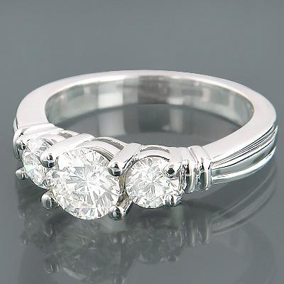 14K Gold 3 Stone Round Diamond Engagement Ring 1.50ct