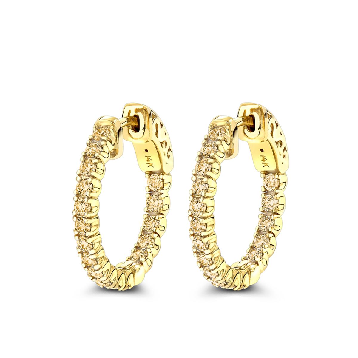 14K Gold 3/4in Inside Out Yellow Diamond Hoop Earrings 1 Carat by Luxurman