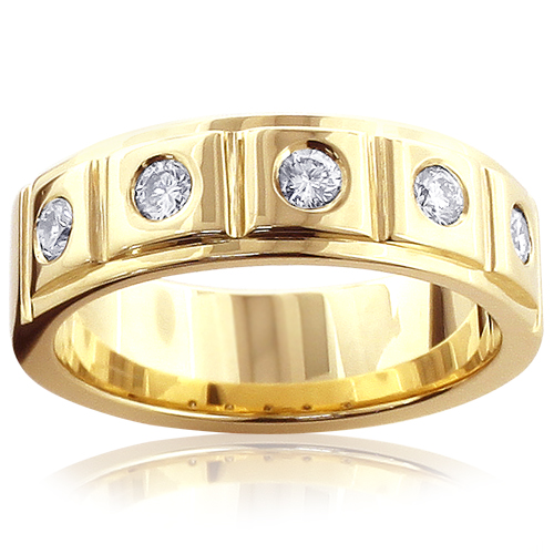 14K Gold 5 Diamond Wedding Band for Men 0.3ct Comfort Fit Five Stone