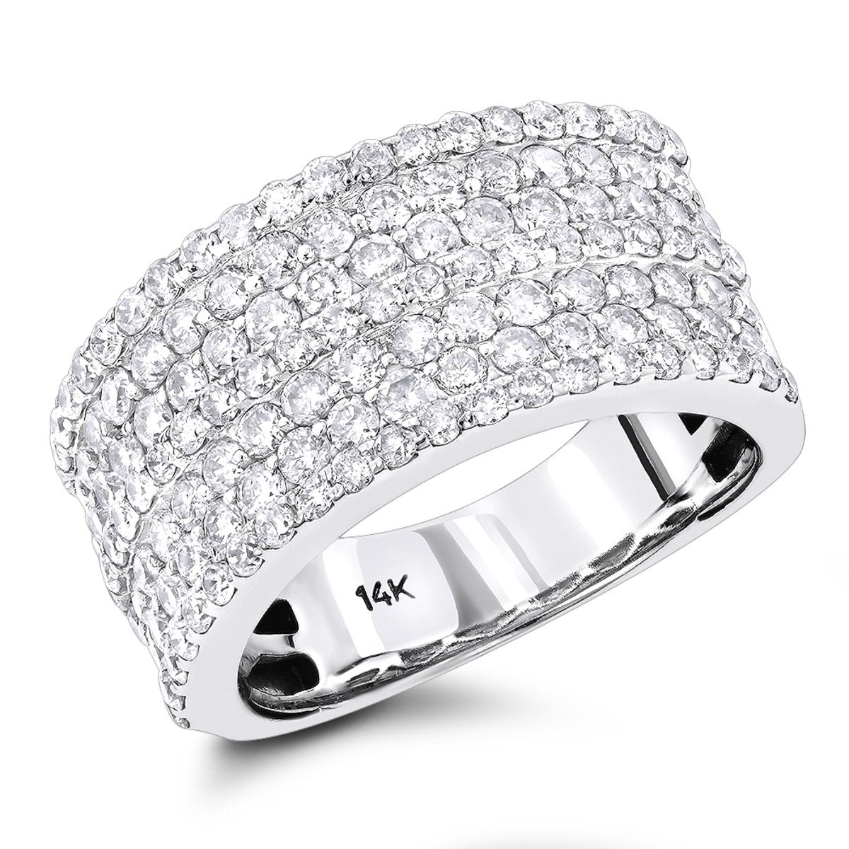 14K Gold 7 Row Ladies Diamond Ring 2ct Band