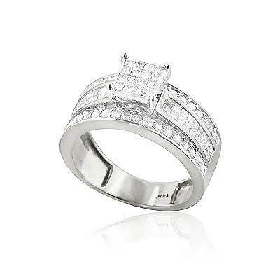 14K Gold Affordable Diamond Engagement Ring 1.23ct