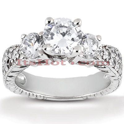 14K Gold Antique Diamond Engagement Ring 0.98ct