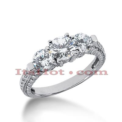 14K Gold Antique Diamond Engagement Ring 1.75ct