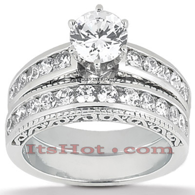 14K Gold Antique Diamond Engagement Ring Set 1.12ct