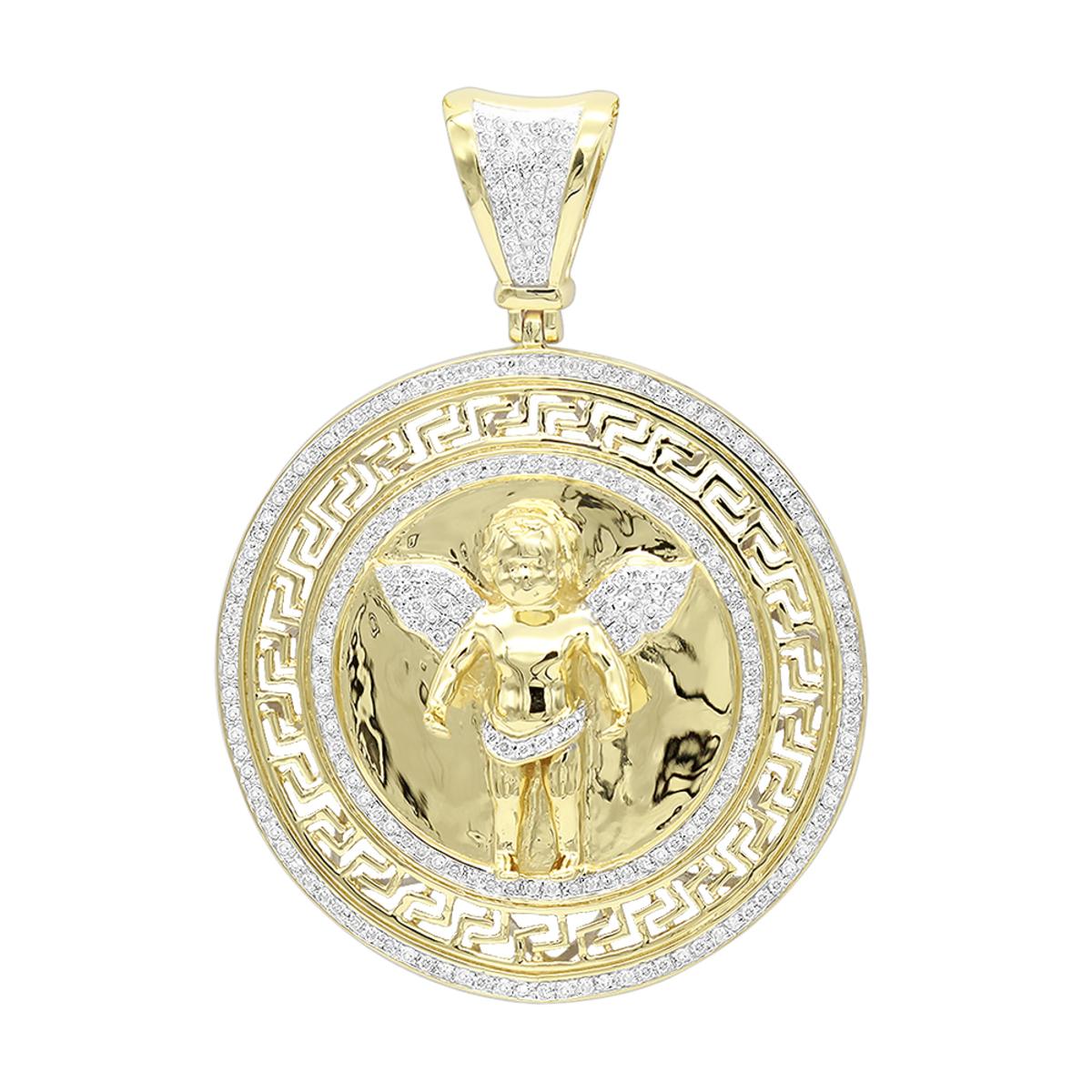 14K Gold Baby Angel Diamond Medallion Pendant for Men 0.95ct by Luxurman