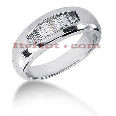 14K Gold Baguette Diamond Men's Wedding Ring 0.65ct