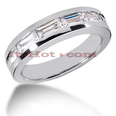 14K Gold Baguette Diamond Men's Wedding Ring 2ct