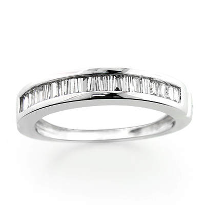 Thin 14K Gold Baguette Diamond Wedding Band 0.40ct