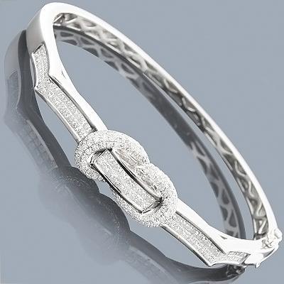 14K Gold Bangle Bracelet with Diamonds 2.41ct