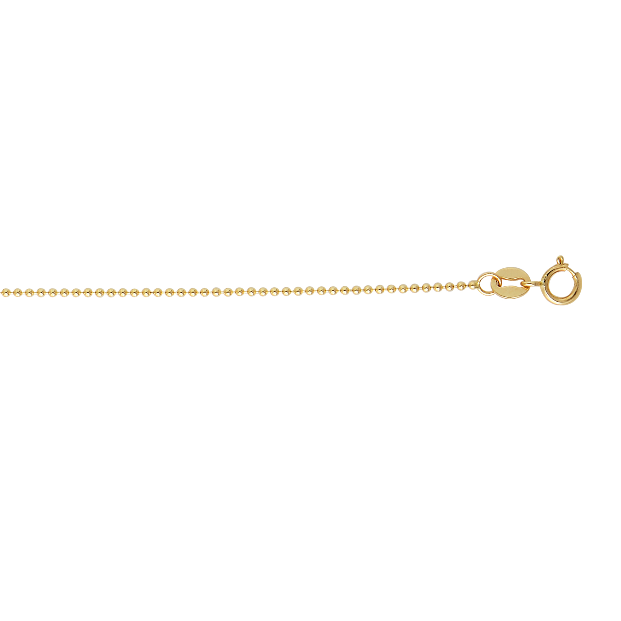 14k Gold Bead Dog Tag Chain For Women 1mm Wide