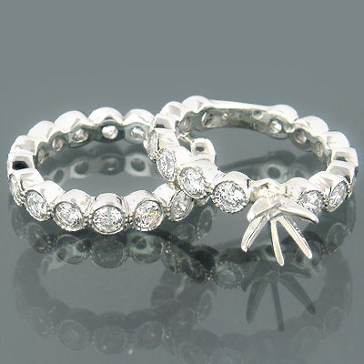 14K Gold Bezel Round Diamond Wedding Ring Set 3.57ct
