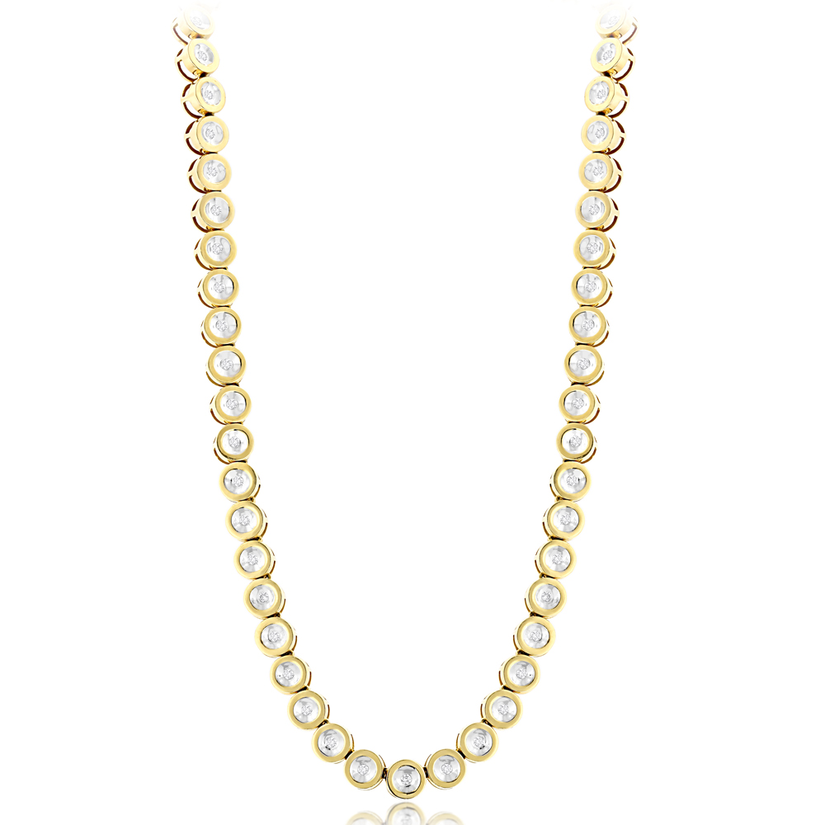 14K Gold Bezel Set Round Diamond Chain Necklace 4.75ct
