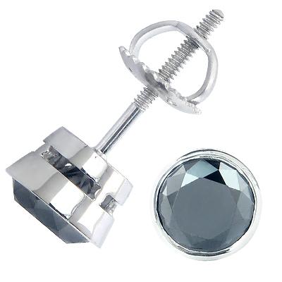 14K Gold Black Diamond Earrings Bezel Set Studs 1.75ct