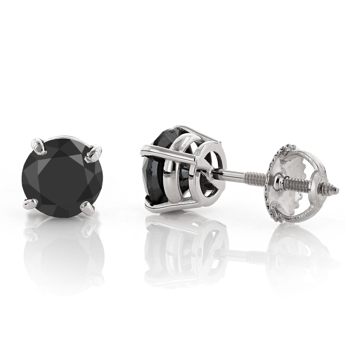14K Gold Black Diamond Earrings Prong Set Studs 1.50ct