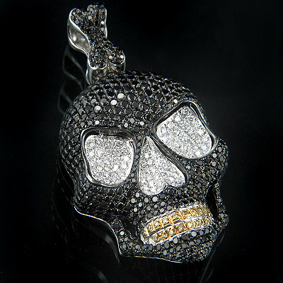 14K Gold Black Diamond Skull Pendant 10ct